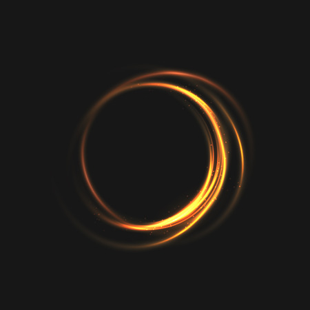 The rings of light with sparkling lines. Bokeh particles on the swirling circles. Motion element on black background glowing light. Shiny gold color dodge effect. illustration. Illustration