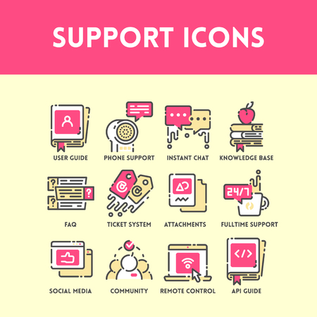 base: Technical support and service, social media and community help, phone support and ticket system. Flat outline color icon set. Vector Illustration.