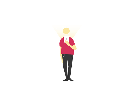 cool gadget: Standing man uses the phone. Flat vector illustration Illustration