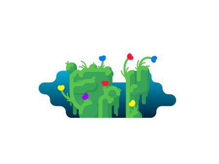 sedge: Grass and flowers. Nature flat illustration. Illustration