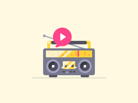 Boombox stereo icon. Icon for music, playback, podcast and other audio content content. Illustration