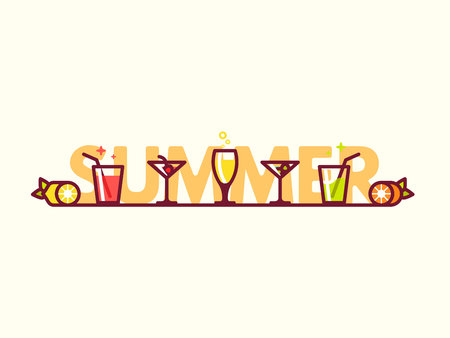 drinks party: Glasses with refreshing drinks on the floor. Summer cocktails flat icon vector illustration. Happy hour or cocktail party invite flyer concept. Illustration