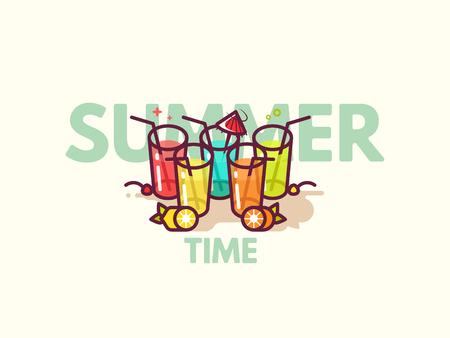Gafas con bebidas refrescantes en el piso. Cócteles de verano icono plano ilustración vectorial. La hora feliz o el cóctel invitan a concepto del aviador.