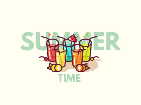 Glasses with refreshing drinks on the floor. Summer cocktails flat icon vector illustration. Happy hour or cocktail party invite flyer concept. Ilustrace
