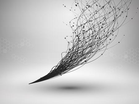 Onda. Ricciolo con linea e punti connessi. Struttura cablata. Concetto di connessione. Priorità bassa di tecnologia.