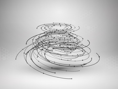 Wireframe mesh element. Abstract swirl form with connected lines and dots.