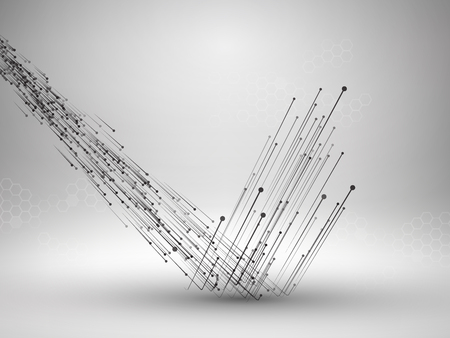 Stream of connected lines and dots bouncing off the floor. Connection concept. Technology background. Illustration