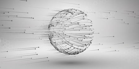 Sphere with connected lines and dots. Wireframe mesh motion element. Connection concept. Technology background.