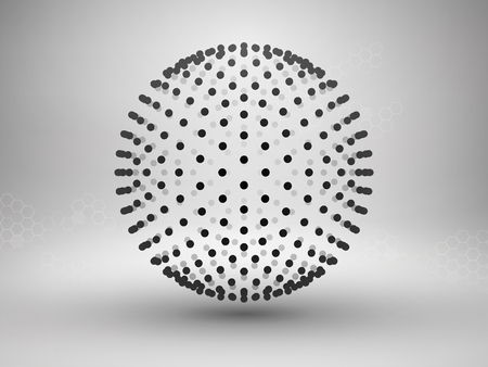 Sphere with dots. Halftone. Connection concept. Technology background.