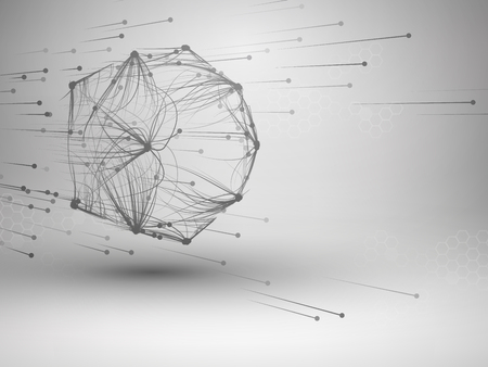 Icosahedron with connected lines and dots. Wireframe poligonal mesh motion element. Connection concept. Technology background. Ilustrace