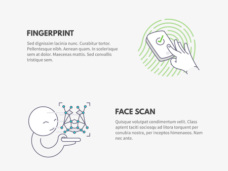 Fingerprint and Face scan authentication. Cyber security concept.