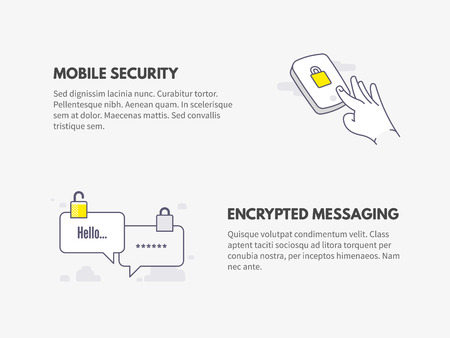 Mobile security and Encrypted messaging. Cyber security concept. Illustration