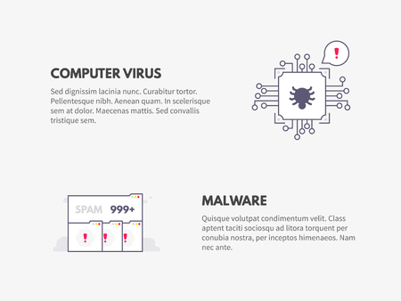 Computer virus and Malware. Cyber security concept.