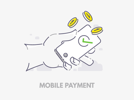 Mobile payments. Hand holding a phone with falling coins vector illustration.