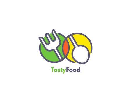 Food logo like icon. Fork and Spoon inside circles. Catering concept.  イラスト・ベクター素材