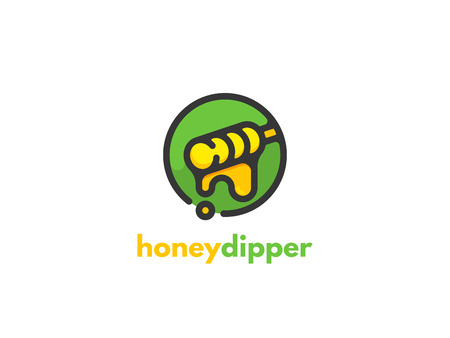 Honey dipper icon design. The concept for the industry sales and production of honey, breeding and keeping bees. Ilustrace