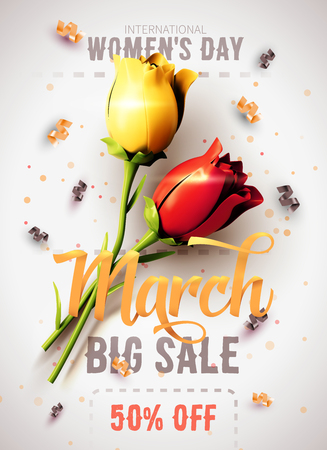 8 March sale, International Womens Day. Happy Mothers Day. Number 8 with ribbon text and confetti on background. Vector Illustration. Ilustrace
