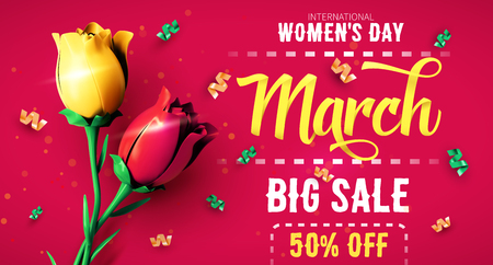 8 March sale flyer. International Womens Day. Happy Mothers Day. Flowers with confetti on red background. Vector Illustration. Ilustrace