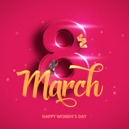 8 March. International Womens Day. Happy Mothers Day. Number 8 with ribbon text and confetti on background. Vector Illustration.