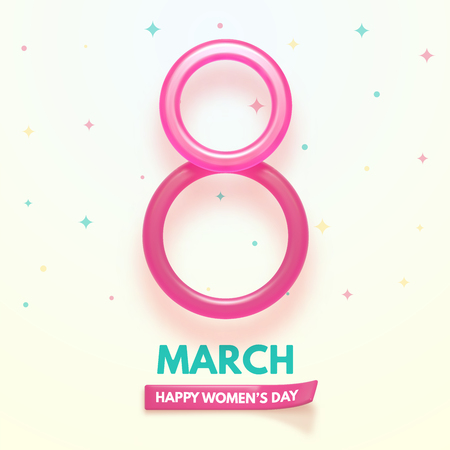8 March. International Womens Day. Happy Mothers Day. Glass and shiny number 8 with text on simple background. Vector Illustration.