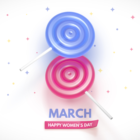 8 March flyer. International Womens Day. Happy Mothers Day. Blue and pink Lollipop form a figure of 8. Ilustrace
