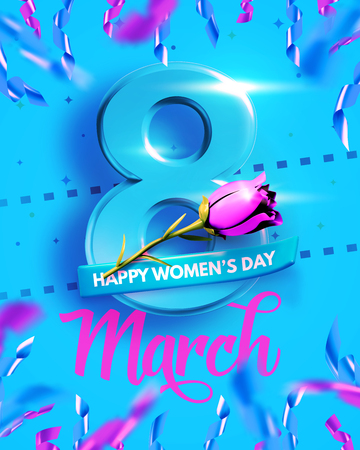 8 March. International Womens Day. Happy Mothers Day. Number 8 with text and confetti on background. Vector Illustration. Ilustrace