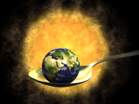 Earth on spoon and Sun, global warming Stock Photo