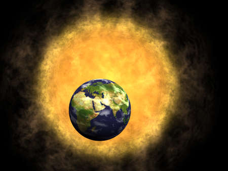 Earth and Sun, global warming Stock Photo - 12295463