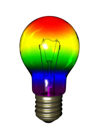Rainbow bulb isolated on white background Stock Photo - 12295446