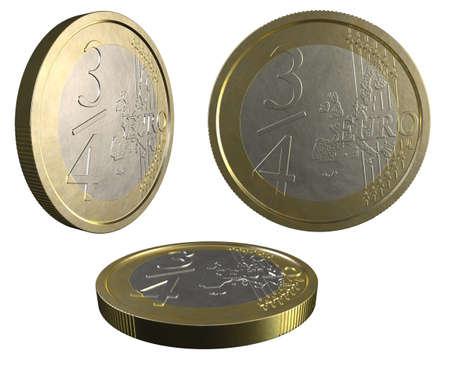 3/4 EURO coin on white background Stock Photo - 12295413