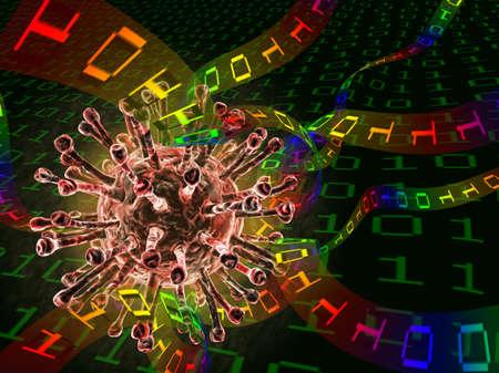 Computer virus destroying digital data photo