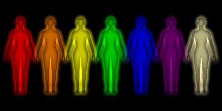 Eenvoudige achtergrond met gekleurde menselijke energie lichaam - aura