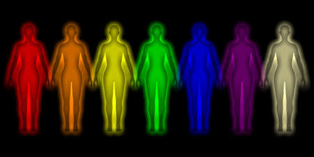 Simple background with colored human energy body - aura Stock Photo - 12295385