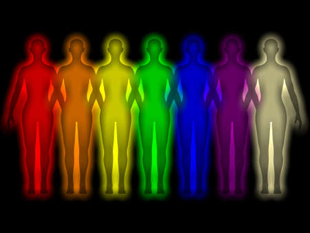 Simple background with colored human energy body - aura Stock Photo