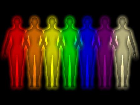 Simple background with colored human energy body - aura Zdjęcie Seryjne