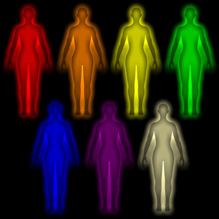 Simple background with colored human energy body - aura Stock Photo - 12295451