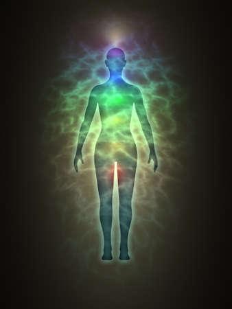 Vrouw energie-lichaam, blauwe aura, chakra's, energie, silhouet