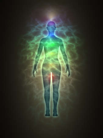 aura: Woman energy body, blue aura, chakras, energy, silhouette Stock Photo