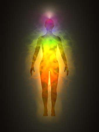 Vrouw energie-lichaam, aura, chakra's, energie, silhouet