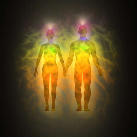 aura: Woman and man energy body, aura, chakras, energy, silhouette