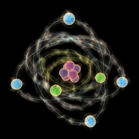 electrons: Planetary model of atom Stock Photo