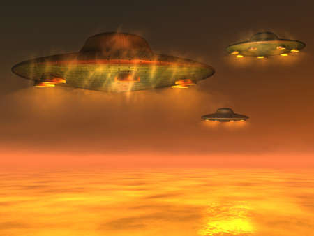 UFOs - Unidentified Flying Objects above the sea level Stock Photo