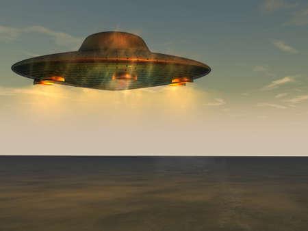 UFO - Unidentified Flying Object boven de zeespiegel Stockfoto - 12295450