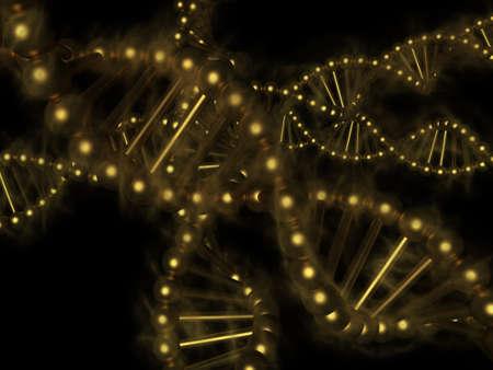 genetica: DNA - acido desossiribonucleico d'oro su sfondo nero