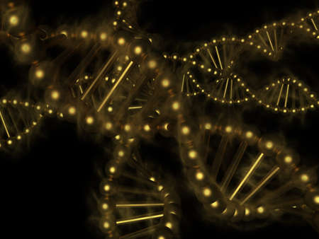 replication: DNA - golden deoxyribonucleic acid on black background Stock Photo