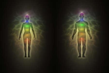 Vrouw en man energielichaam, aura, chakra's, energie, silhouet Stockfoto - 12295477