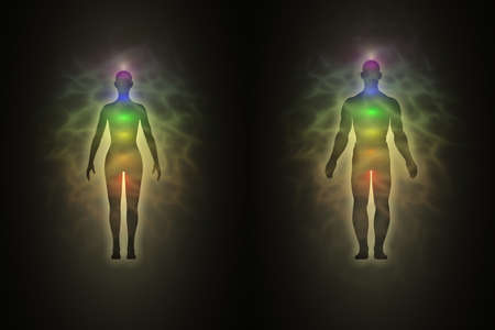 Woman and man energy body, aura, chakras, energy, silhouette photo