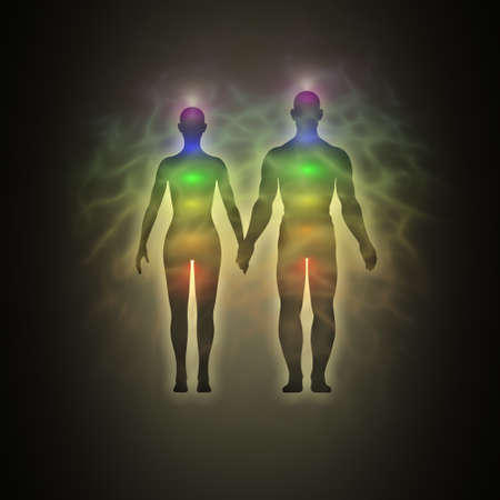aura energy: Woman and man energy body, aura, chakras, energy, silhouette
