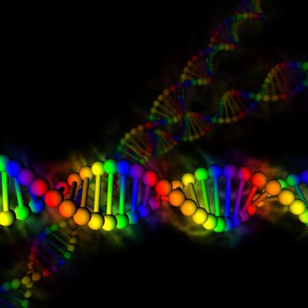 DNA - regenboog desoxyribonucleïnezuur op zwarte achtergrond Stockfoto