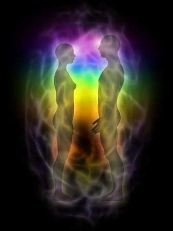aura energy: Woman and man silhouette with aura, chakras, energy - profile